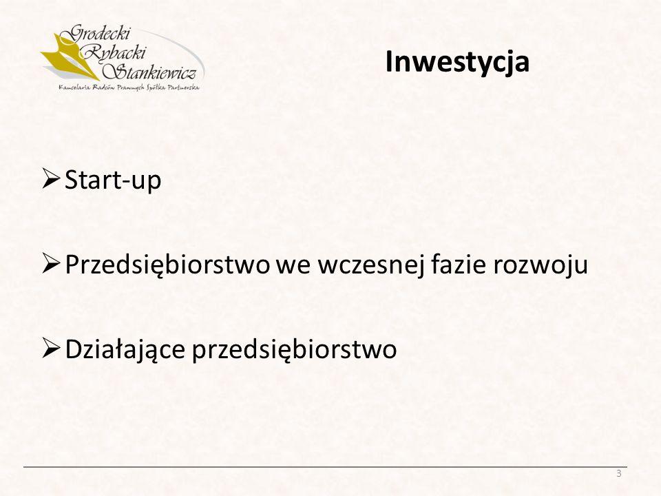 Inwestycja Start-up Przedsiębiorstwo we wczesnej fazie rozwoju