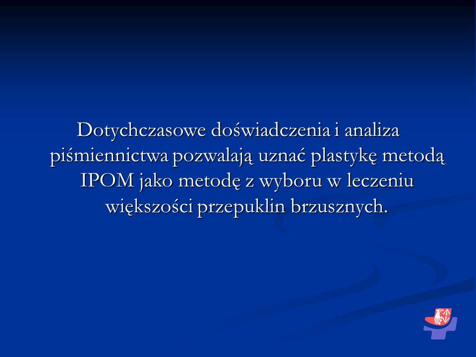 Dotychczasowe doświadczenia i analiza piśmiennictwa pozwalają uznać plastykę metodą IPOM jako metodę z wyboru w leczeniu większości przepuklin brzusznych.
