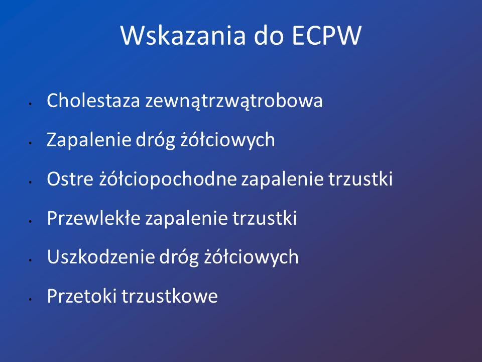 Wskazania do ECPW Cholestaza zewnątrzwątrobowa