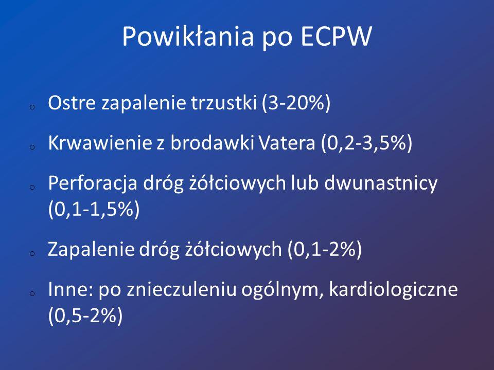 Powikłania po ECPW Ostre zapalenie trzustki (3-20%)