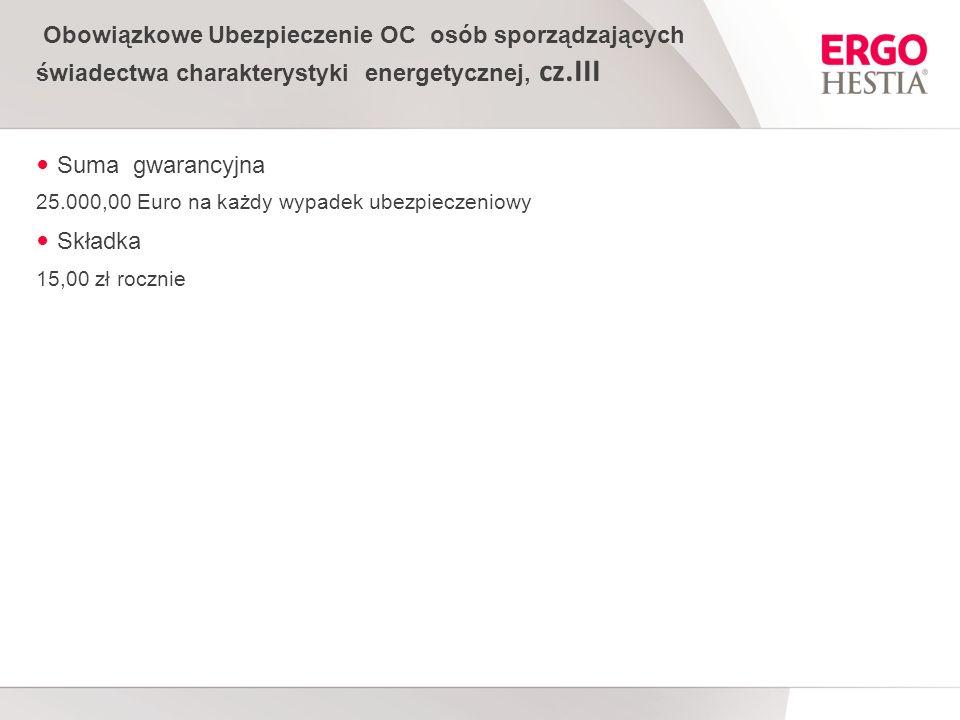 Obowiązkowe Ubezpieczenie OC osób sporządzających świadectwa charakterystyki energetycznej, cz.III
