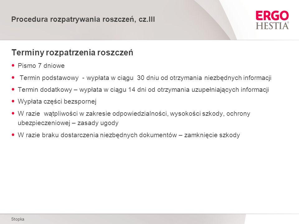 Procedura rozpatrywania roszczeń, cz.III