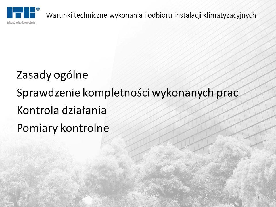 Warunki techniczne wykonania i odbioru instalacji klimatyzacyjnych