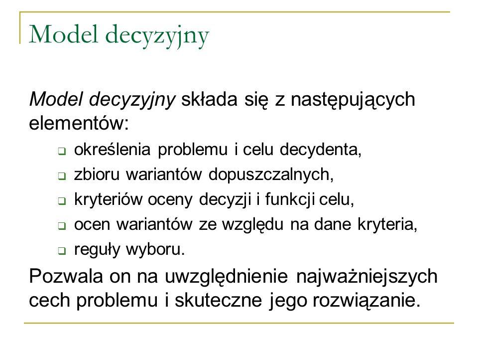Model decyzyjny Model decyzyjny składa się z następujących elementów: