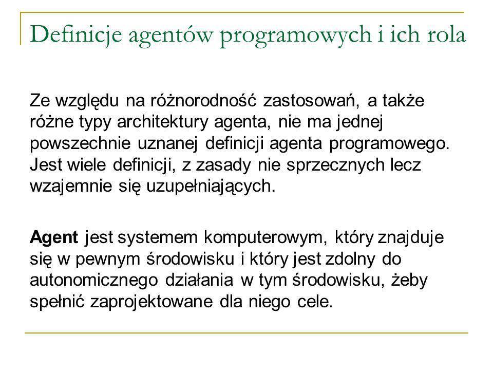 Definicje agentów programowych i ich rola