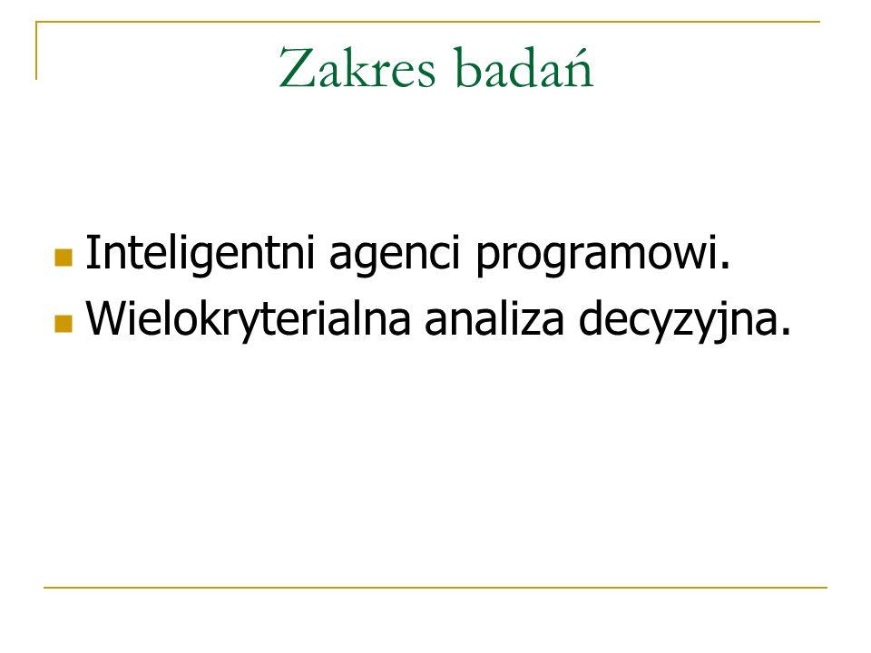Zakres badań Inteligentni agenci programowi.