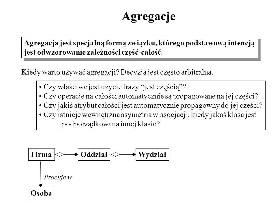 Agregacje Agregacja jest specjalną formą związku, którego podstawową intencją. jest odwzorowanie zależności część-całość.