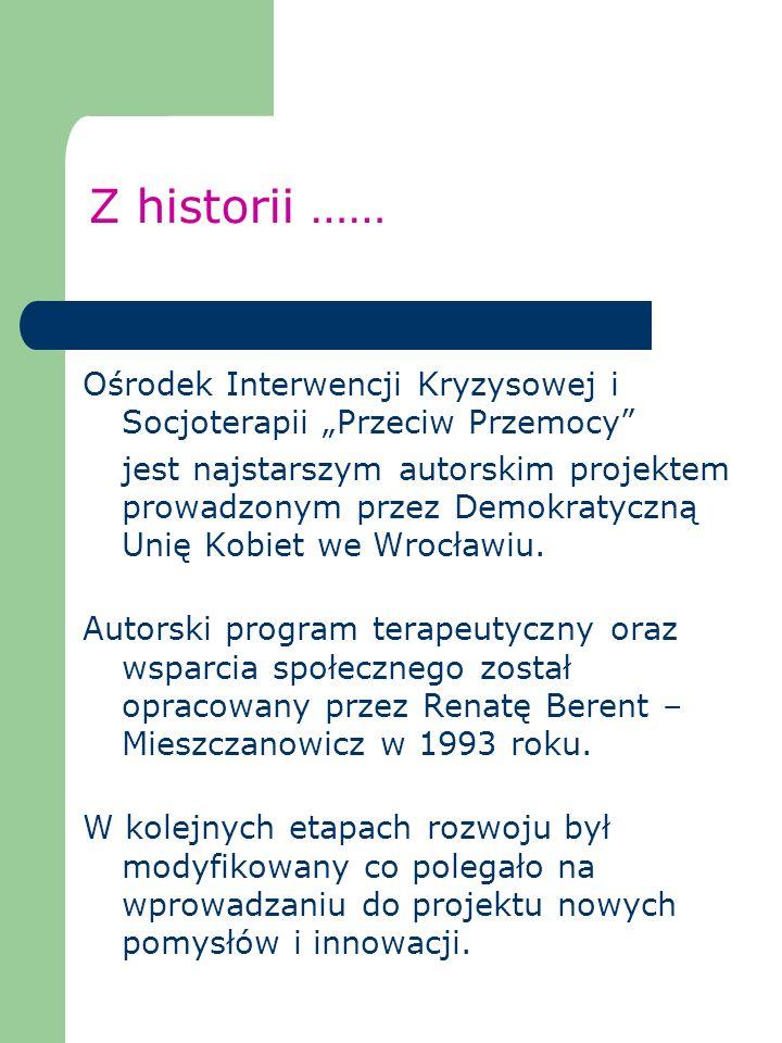 """Z historii …… Ośrodek Interwencji Kryzysowej i Socjoterapii """"Przeciw Przemocy"""