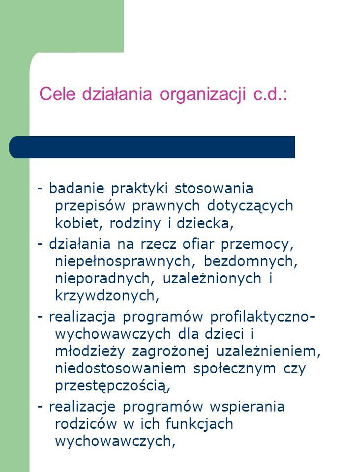 Cele działania organizacji c.d.: