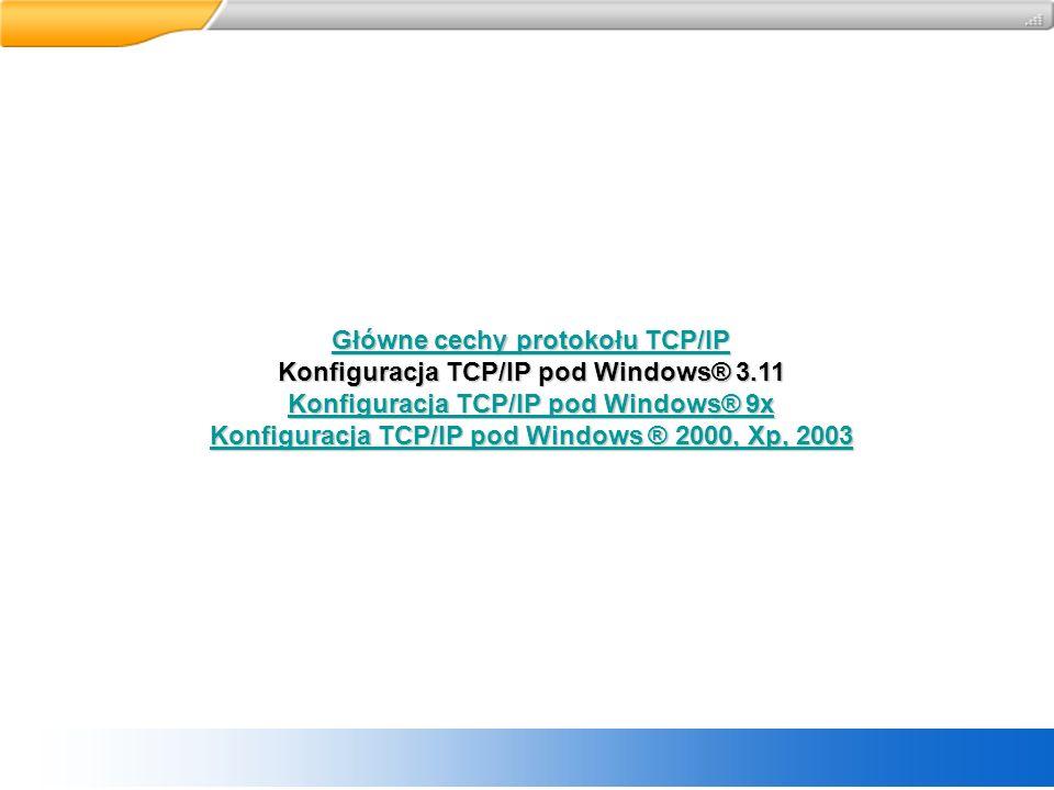Główne cechy protokołu TCP/IP Konfiguracja TCP/IP pod Windows® 3.11