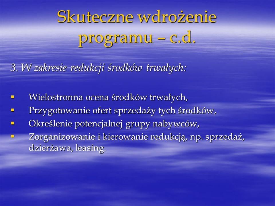 Skuteczne wdrożenie programu – c.d.