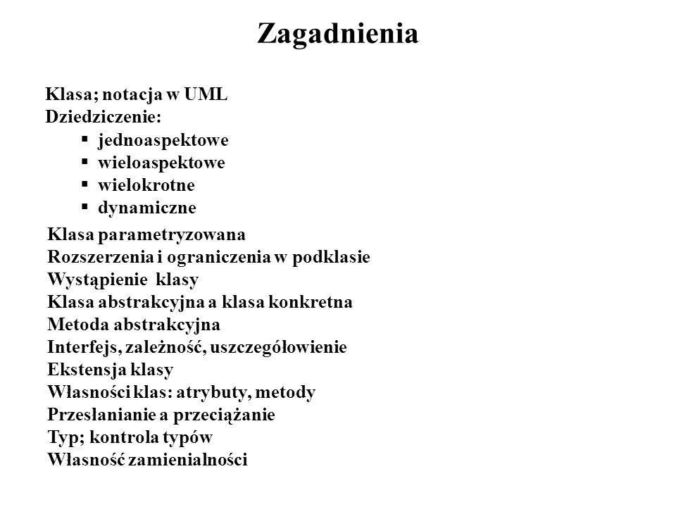 Zagadnienia Klasa; notacja w UML Dziedziczenie: jednoaspektowe