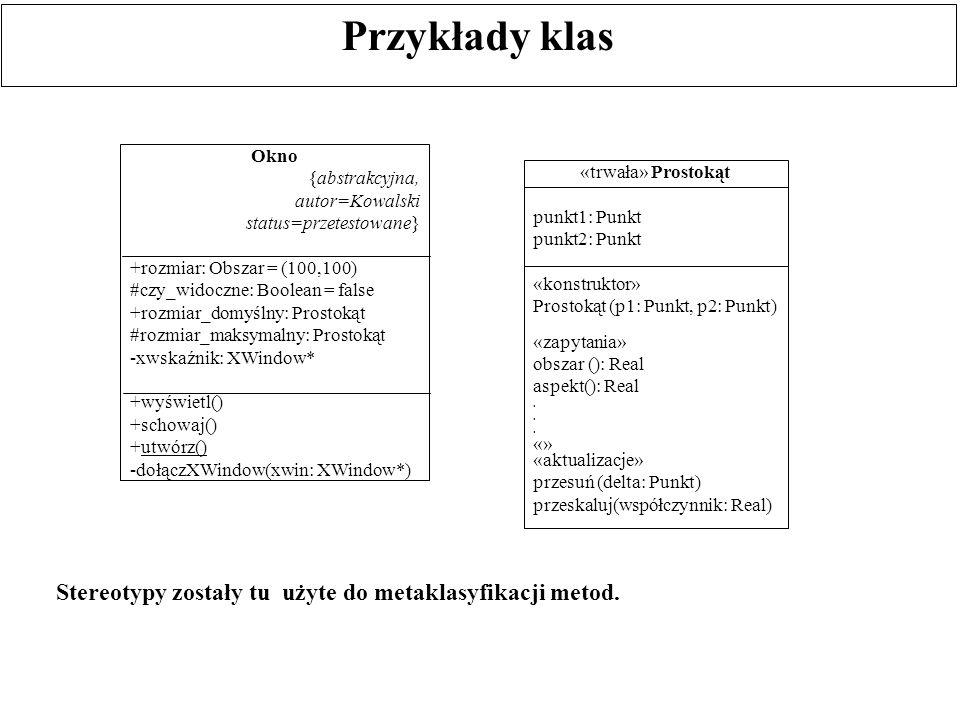 Przykłady klas Stereotypy zostały tu użyte do metaklasyfikacji metod.