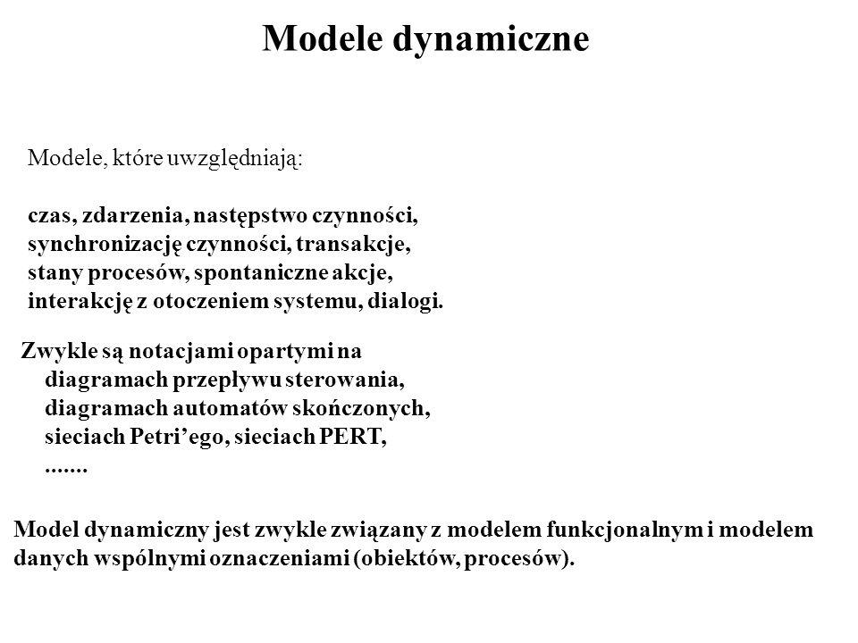 Modele dynamiczne Modele, które uwzględniają: