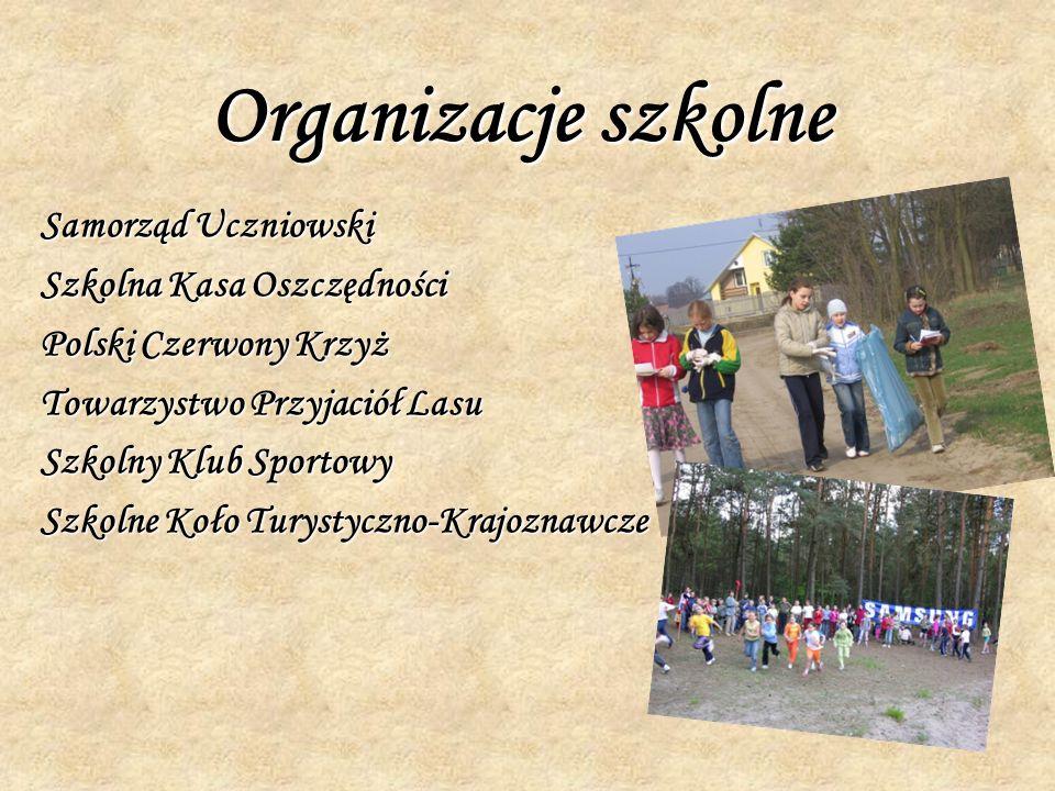 Organizacje szkolne Samorząd Uczniowski Szkolna Kasa Oszczędności