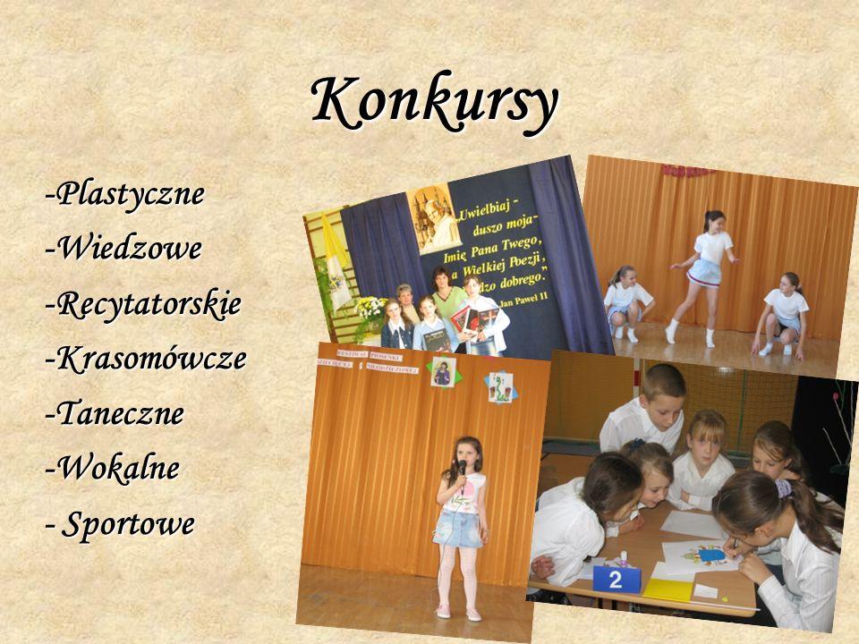 Konkursy -Plastyczne -Wiedzowe -Recytatorskie -Krasomówcze -Taneczne -Wokalne - Sportowe