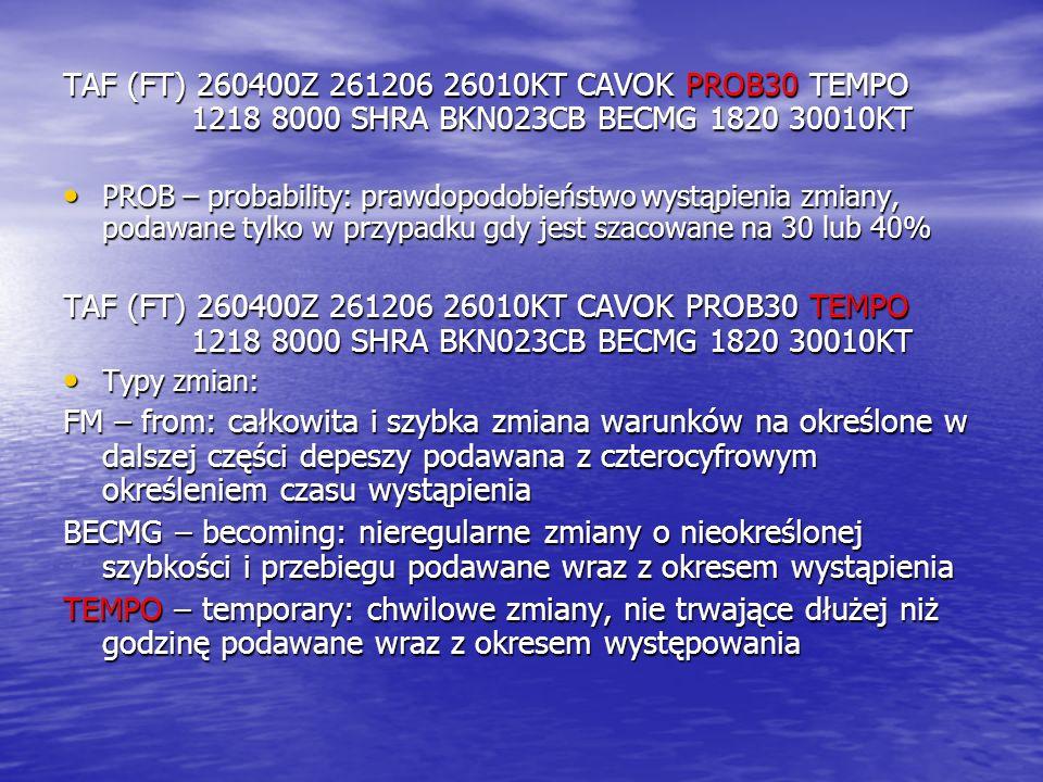 TAF (FT) 260400Z 261206 26010KT CAVOK PROB30 TEMPO 1218 8000 SHRA BKN023CB BECMG 1820 30010KT