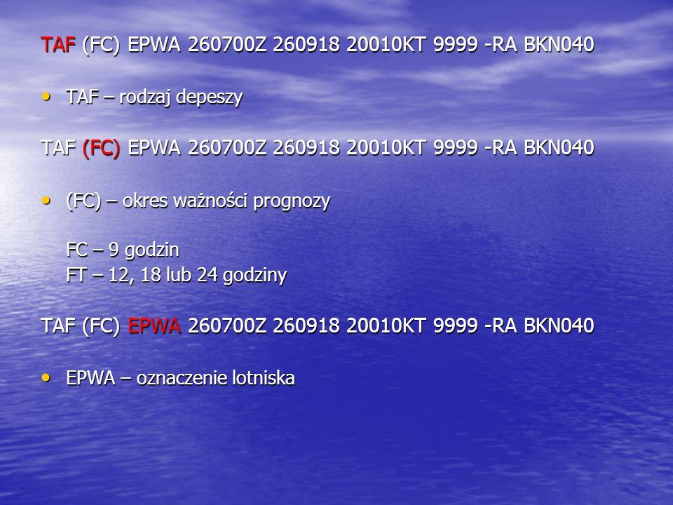 TAF (FC) EPWA 260700Z 260918 20010KT 9999 -RA BKN040
