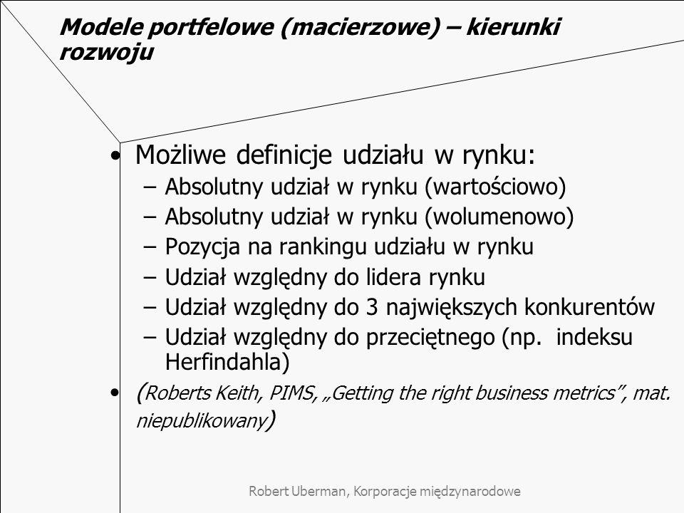Modele portfelowe (macierzowe) – kierunki rozwoju