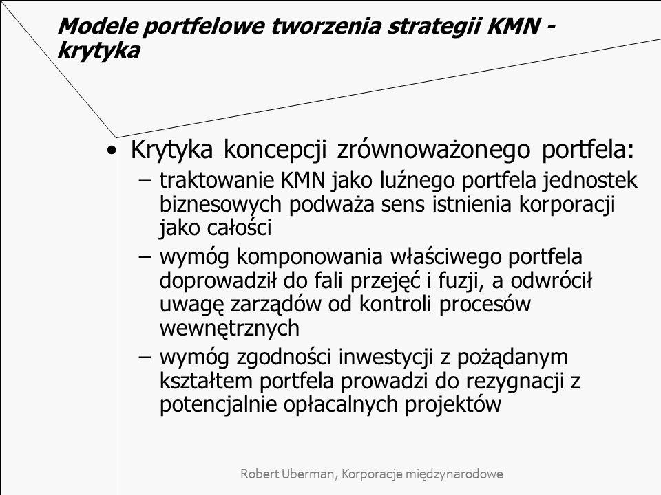 Modele portfelowe tworzenia strategii KMN - krytyka