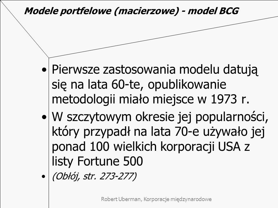 Modele portfelowe (macierzowe) - model BCG