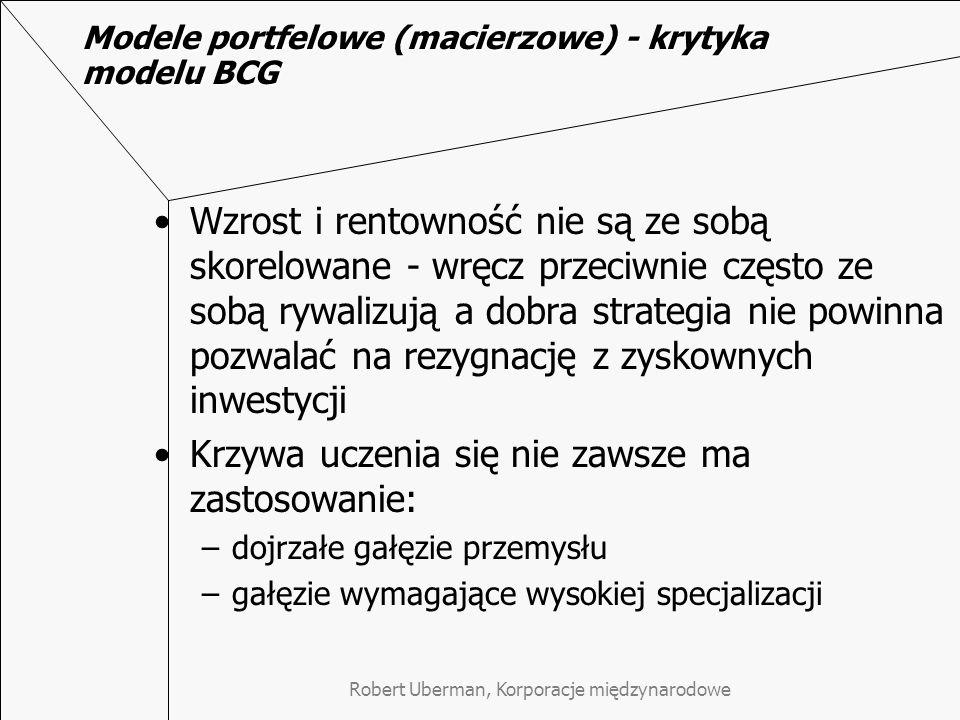 Modele portfelowe (macierzowe) - krytyka modelu BCG