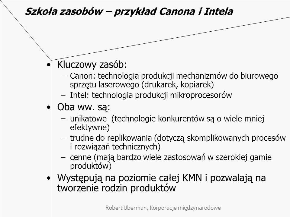Szkoła zasobów – przykład Canona i Intela
