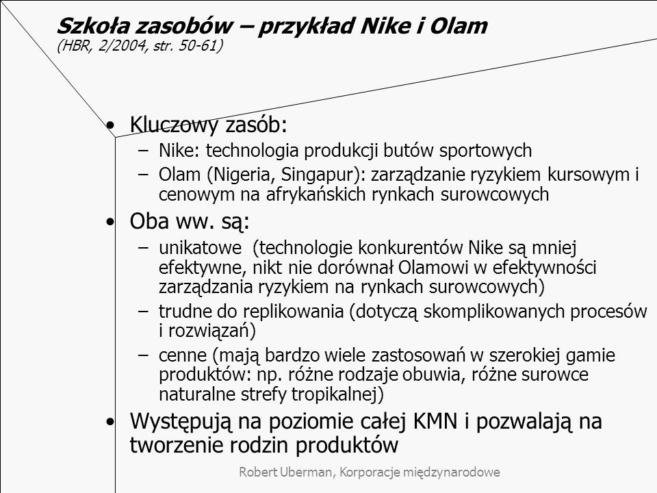 Szkoła zasobów – przykład Nike i Olam (HBR, 2/2004, str. 50-61)