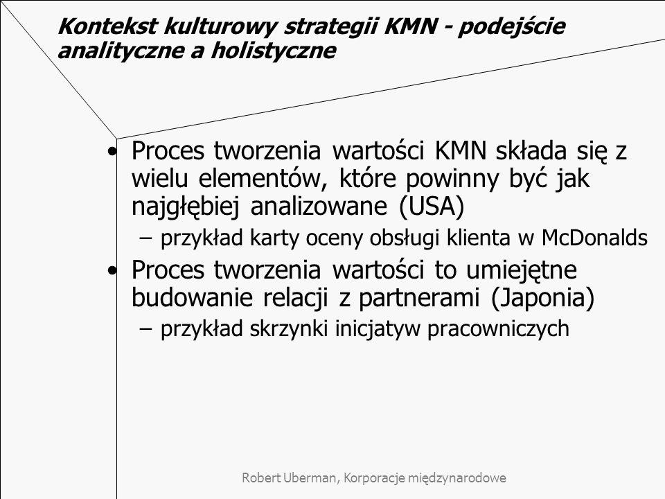 Kontekst kulturowy strategii KMN - podejście analityczne a holistyczne