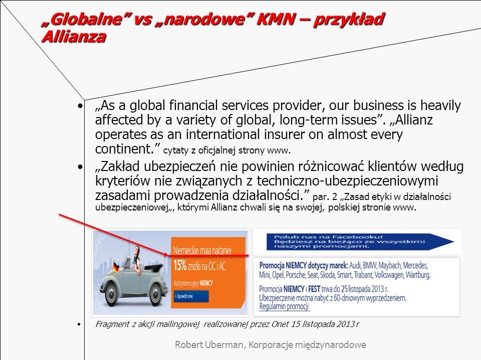 """""""Globalne vs """"narodowe KMN – przykład Allianza"""