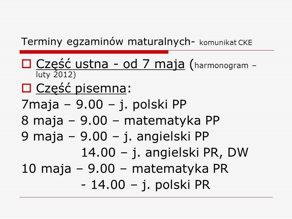 Terminy egzaminów maturalnych- komunikat CKE