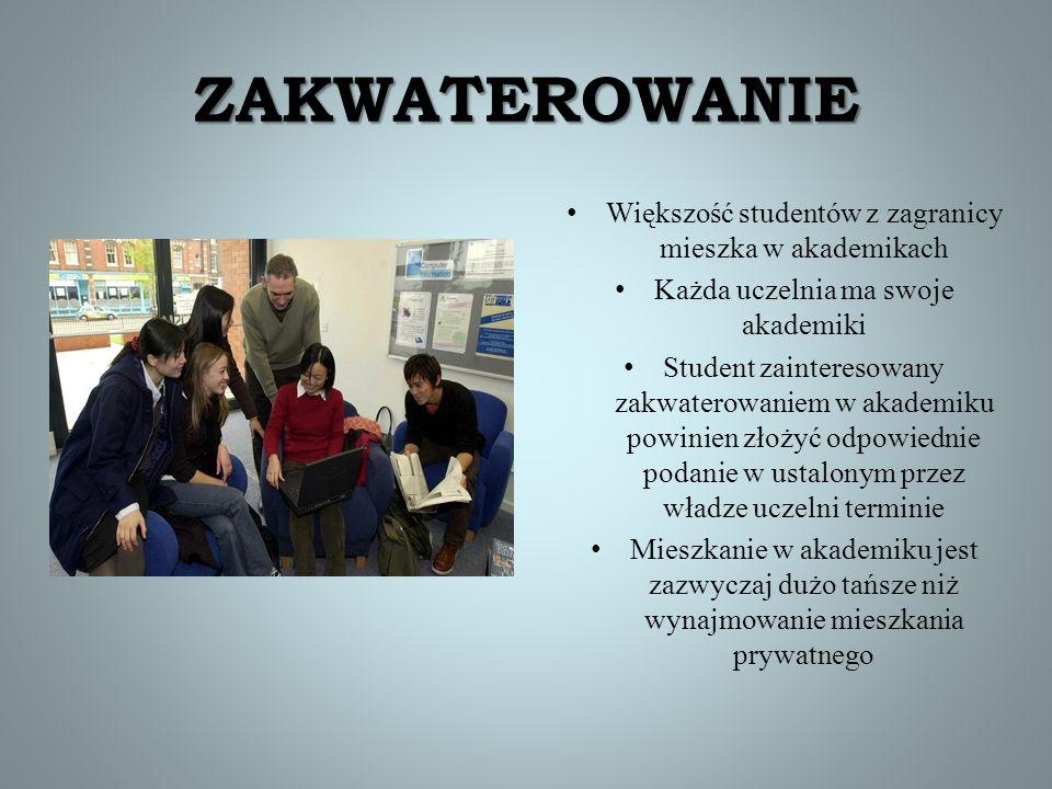 ZAKWATEROWANIE Większość studentów z zagranicy mieszka w akademikach
