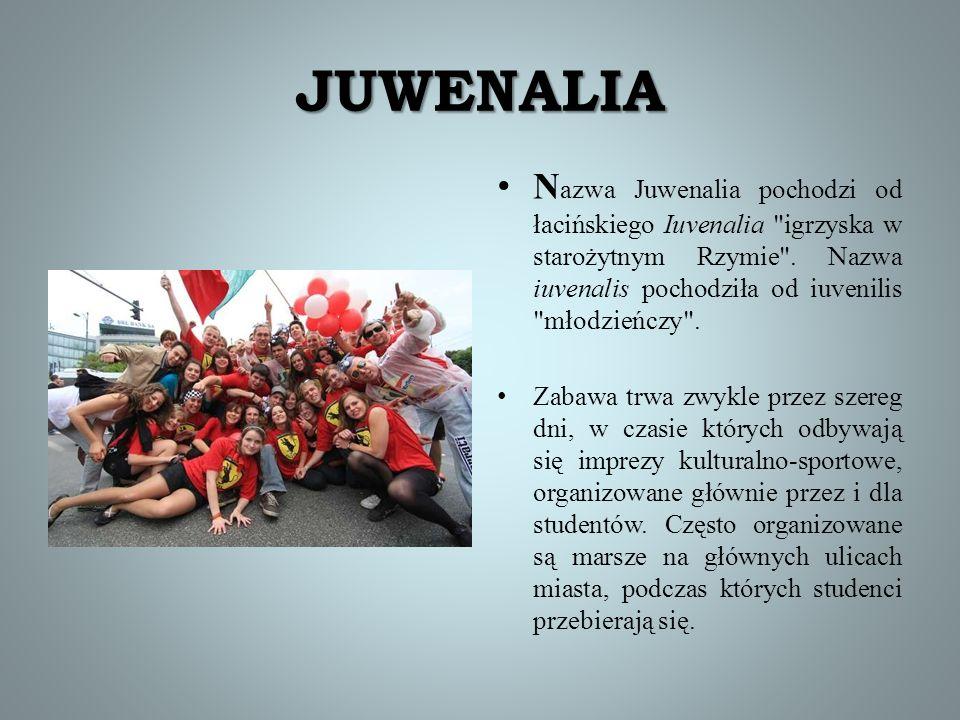 JUWENALIA Nazwa Juwenalia pochodzi od łacińskiego Iuvenalia igrzyska w starożytnym Rzymie . Nazwa iuvenalis pochodziła od iuvenilis młodzieńczy .