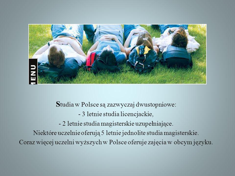 Studia w Polsce są zazwyczaj dwustopniowe: