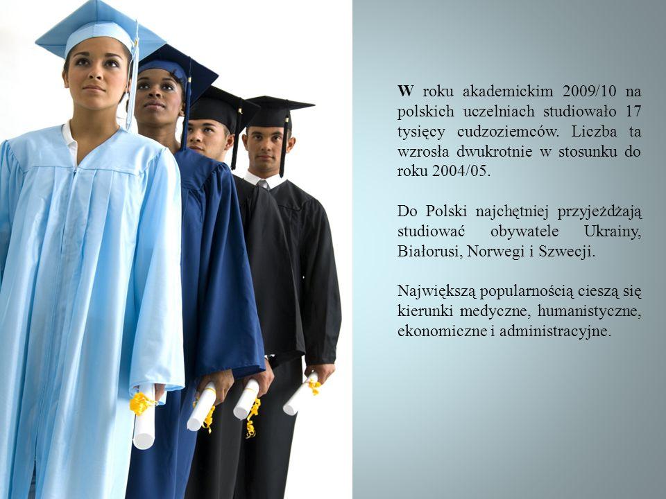 W roku akademickim 2009/10 na polskich uczelniach studiowało 17 tysięcy cudzoziemców. Liczba ta wzrosła dwukrotnie w stosunku do roku 2004/05.