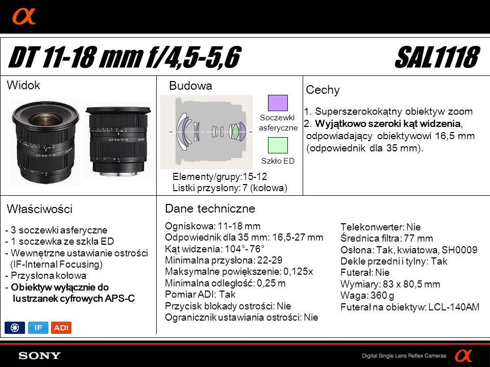 DT 11-18 mm f/4,5-5,6 SAL1118 Widok Budowa Cechy Właściwości