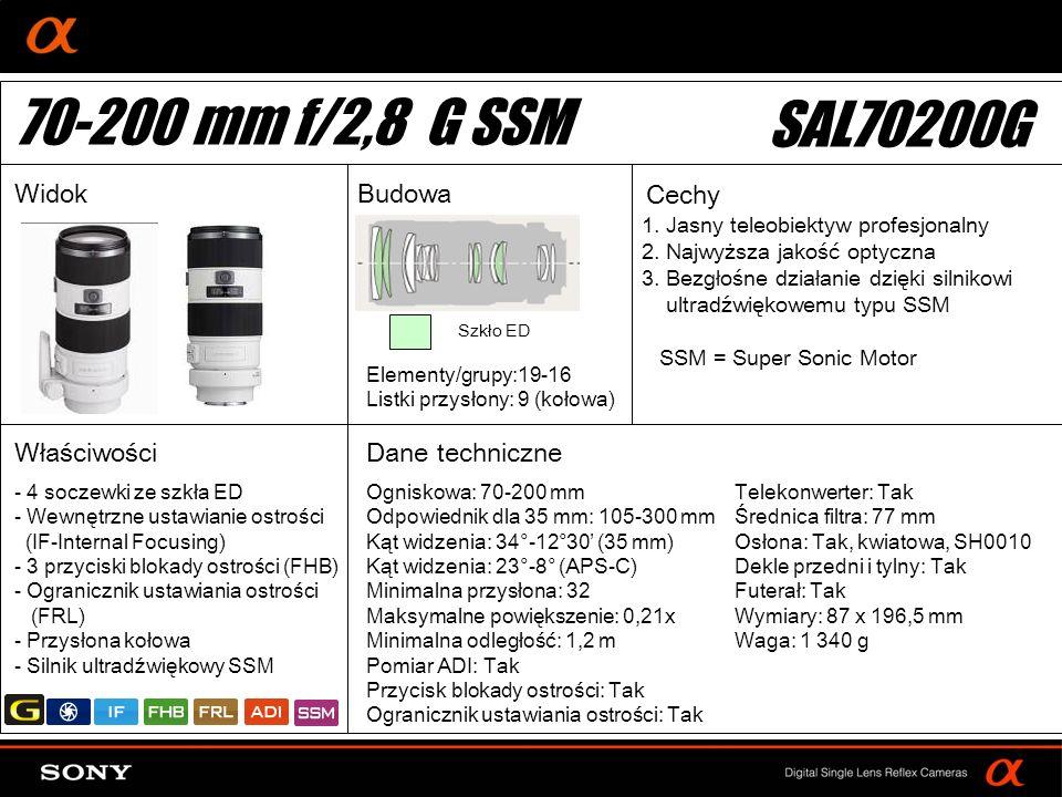 70-200 mm f/2,8 G SSM SAL70200G Widok Budowa Cechy Właściwości