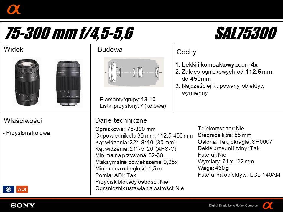 75-300 mm f/4,5-5,6 SAL75300 Widok Budowa Cechy Właściwości