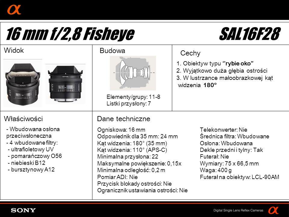 16 mm f/2,8 Fisheye SAL16F28 Widok Budowa Cechy Właściwości