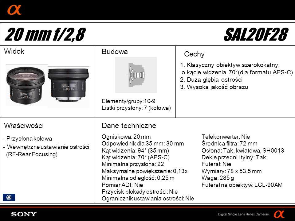 20 mm f/2,8 SAL20F28 Widok Budowa Cechy Właściwości Dane techniczne
