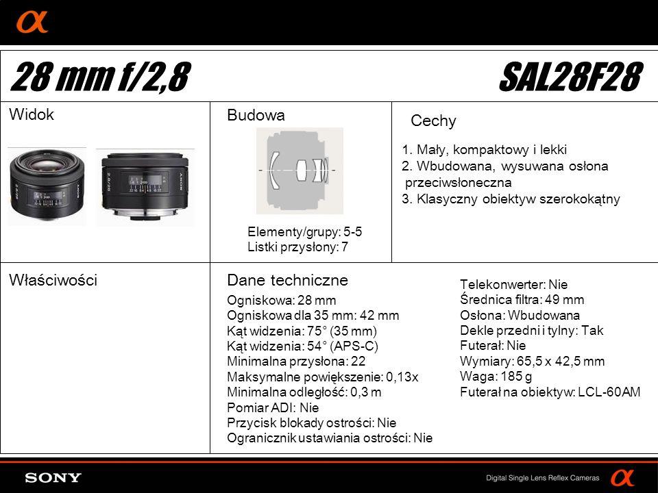 28 mm f/2,8 SAL28F28 Widok Budowa Cechy Właściwości Dane techniczne