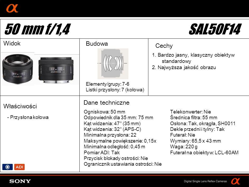 50 mm f/1,4 SAL50F14 Widok Budowa Cechy Dane techniczne Właściwości