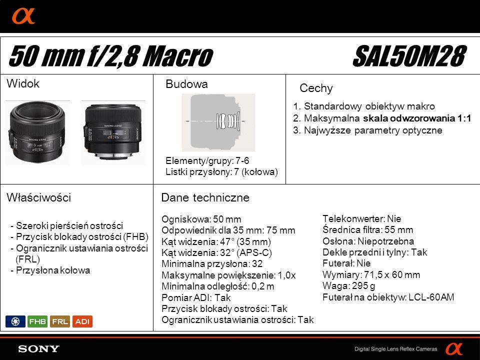 50 mm f/2,8 Macro SAL50M28 Widok Budowa Cechy Właściwości