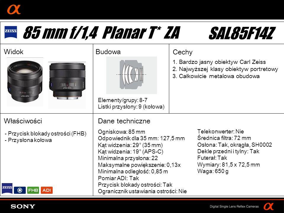 85 mm f/1,4 Planar T* ZA SAL85F14Z Widok Budowa Cechy Właściwości