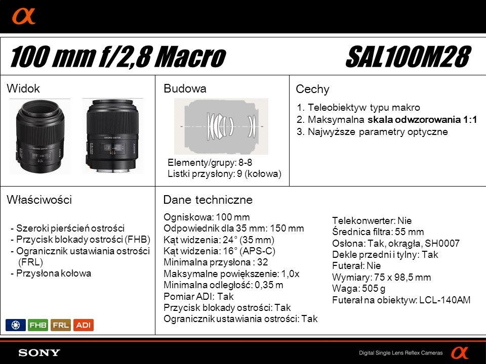 100 mm f/2,8 Macro SAL100M28 Widok Budowa Cechy Właściwości