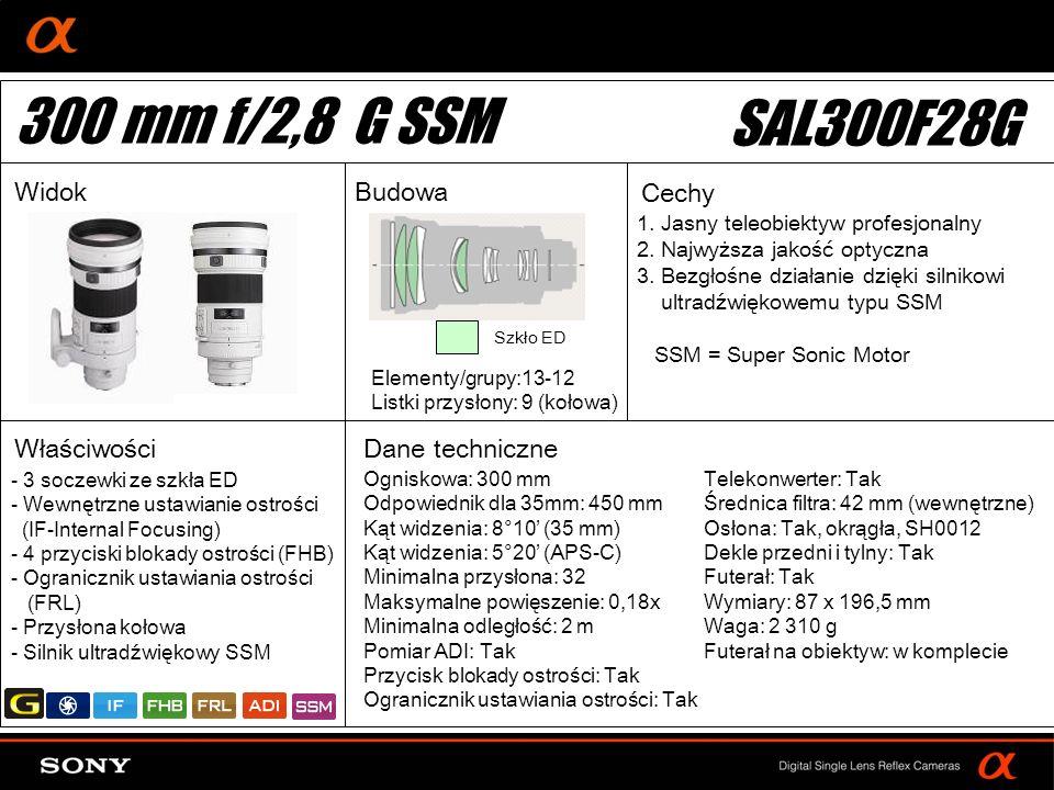 300 mm f/2,8 G SSM SAL300F28G Widok Budowa Cechy Właściwości