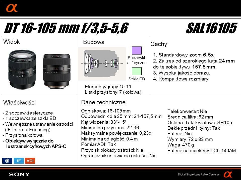 DT 16-105 mm f/3,5-5,6 SAL16105 Widok Budowa Cechy Właściwości