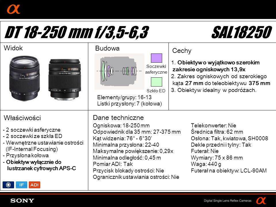 DT 18-250 mm f/3,5-6,3 SAL18250 Widok Budowa Cechy Właściwości
