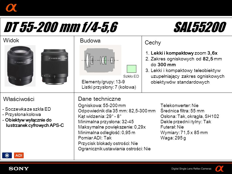 DT 55-200 mm f/4-5,6 SAL55200 Widok Budowa Cechy Właściwości