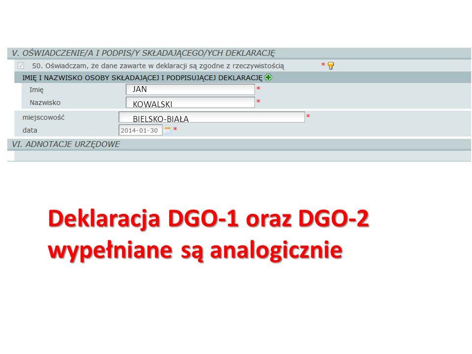 Deklaracja DGO-1 oraz DGO-2 wypełniane są analogicznie